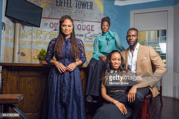 Ava DuVernay with actors Rutina Wesley Kofi Siriboe and DawnLyen Gardner of the cast Queen Sugar for Essence Magazine on July 1 2016 in New Orleans...