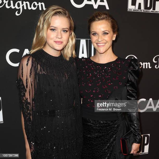 Ava Elizabeth Phillippe and Reese Witherspoon attend LA Dance Project's Annual Gala at Hauser Wirth on October 20 2018 in Los Angeles California