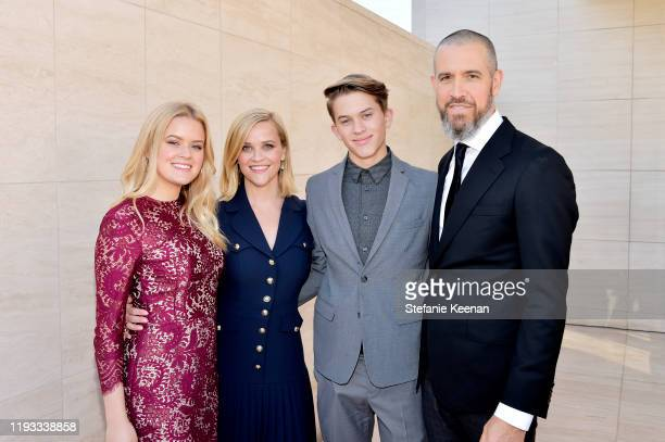 Ava Elizabeth Phillippe, honoree Reese Witherspoon, Deacon Reese Phillippe, and Jim Toth attend The Hollywood Reporter's Power 100 Women in...