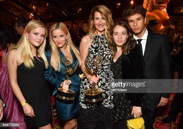 Ava Elizabeth Phillippe Reese Witherspoon Laura Dern Jaya Harper and Ellery Walker Harper attend the HBO's Official 2017 Emmy After Party at The...