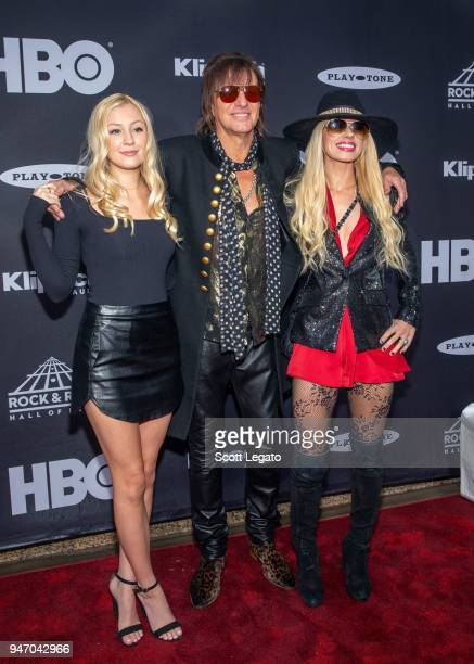 Ava Elizabeth Sambora, inductee Richie Sambora of Bon Jovi, and Orianthi attend the 33rd Annual Rock & Roll Hall of Fame Induction Ceremony at Public...