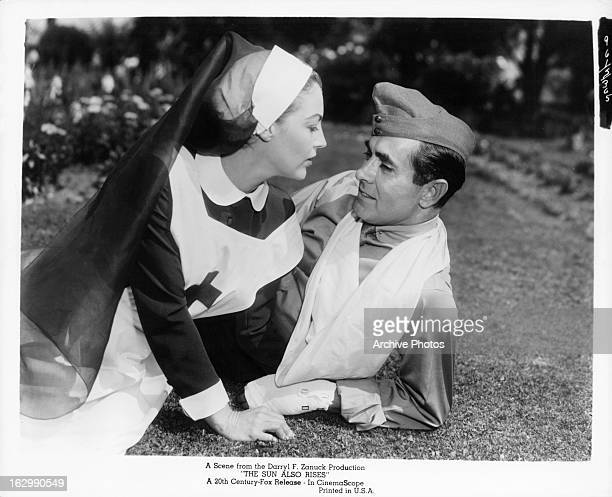 Ava Gardner and Tyrone Power in a scene from the film 'The Sun Also Rises' 1957