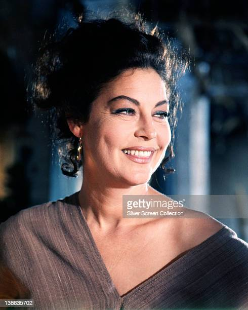 Ava Gardner US actress smiling with her head turned to her left in a studio portrait circa 1970