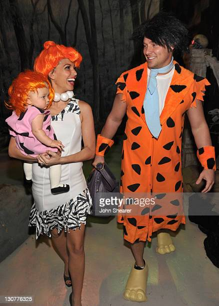 Ava Grace Strickland Melissa Rycroft and Tye Strickland attend the 18th Annual 'Dream Halloween Los Angeles' at Barker Hangar on October 29 2011 in...
