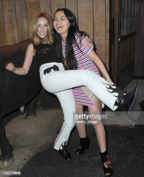 Ava Kolker and actress Chalet Lizette Brannan attend Brannan's Sweet 16 Birthday Party at Saddle Ranch Chop House on April 12, 2021 in West...