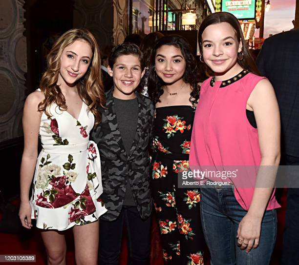 Ava Kolker Jackson Dollinger Julia Garcia and Amelia Wray attend the premiere of Disney's Timmy Failure Mistakes Were Made at Hollywood's El Capitan...