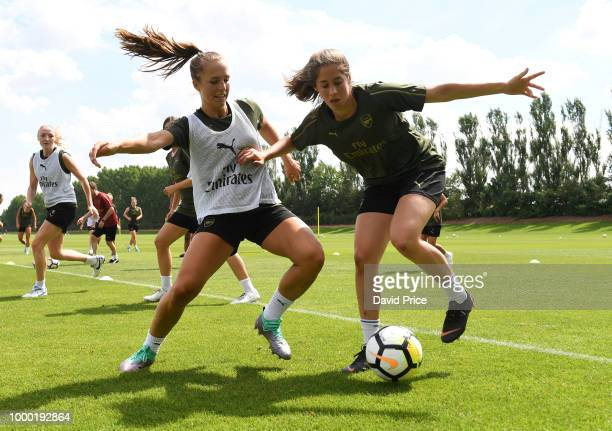 Lisa Evans Danielle van de Donk and Emma Mitchell of Arsenal Women during the Arsenal Womens Training Session at London Colney on July 16 2018 in St...