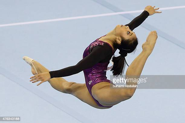 Ava Lorein Verdeflor of Philippines in action during the floor event in the women's gymnastic individual allaround final at the Bishan Sports Hall...