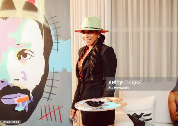Ava Mae paints at The One And Only, Dick Gregory, Album Release Event on September 16, 2021 in Burbank, California.