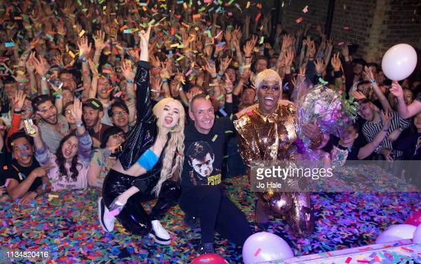 Ava Max Jeremy Joseph and Monet X Change on stage at GAY Heaven on March 09 2019 in London England