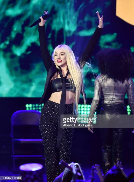 Ava Max performs onstage during Dick Clark's New Year's Rockin' Eve with Ryan Seacrest 2020 Hollywood Party on November 23 2019 in Los Angeles...