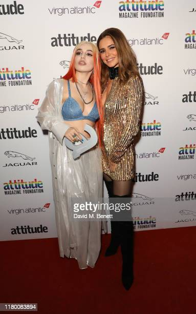 Ava Max winner of The Attitude Breakthrough award and Cheryl Cole pose in the Winners Room at the Virgin Atlantic Attitude Awards 2019 at The...