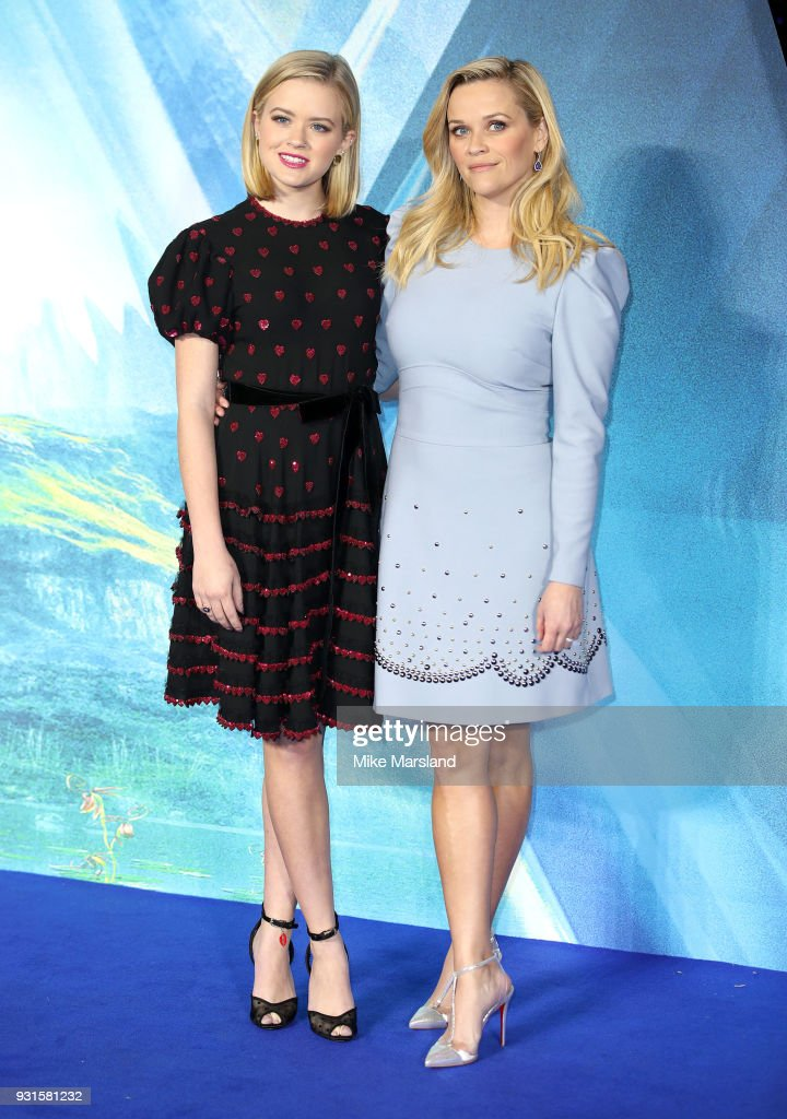 Ava Phillippe and Reese Witherspoon attend the European Premiere of 'A Wrinkle In Time' at BFI IMAX on March 13, 2018 in London, England.
