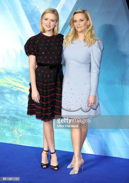 Ava Phillippe and Reese Witherspoon attend the European Premiere of 'A Wrinkle In Time' at BFI IMAX on March 13 2018 in London England