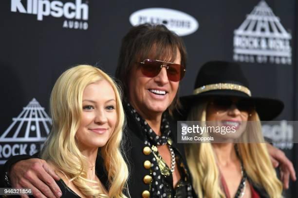 Ava Sambora, inductee Richie Sambora of Bon Jovi and Orianthi attend the 33rd Annual Rock & Roll Hall of Fame Induction Ceremony at Public Auditorium...