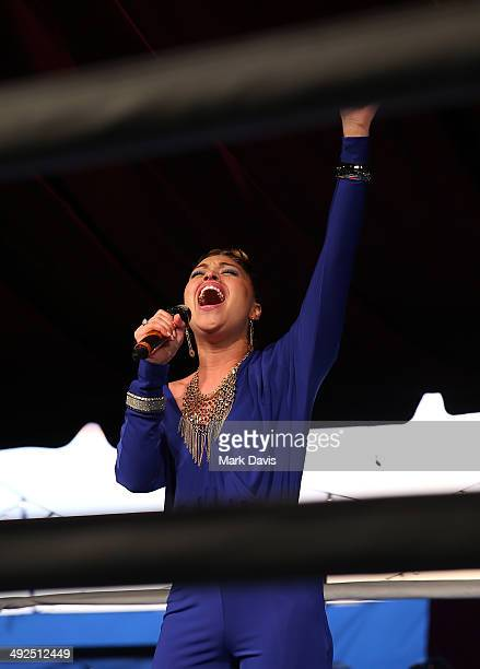 Ava sings the National Anthem during the B Riley Co and Sugar Ray Leonard Foundation's 5th Annual Big Fighters Big Cause Charity Boxing Night at the...