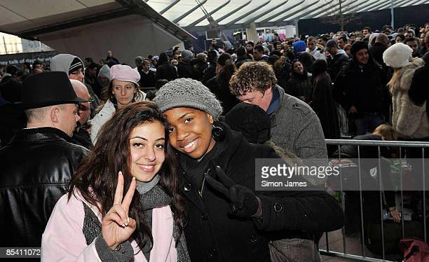 Ava Zadkhorvash and Ayesha Obi wait for Michael Jackson's concert tickets to officially go on sale at the O2 Arena on March 13 2009 in London England