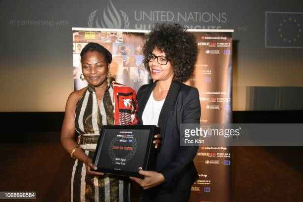 'J'Avais 9 Ans' actress Agathe Ouedraogo and Audrey Pulvar attend the 'Mobile Film Festival Stand Up 4 Human Rights Awards' Ceremony Hosted by...