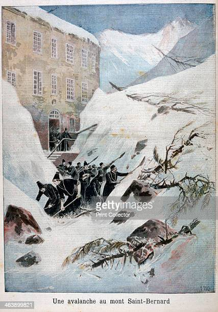 Avalanche at Mont SaintBernard Switzerland 1897 An illustration from Le Petit Journal 21st March 1897 Monks digging through the snow and debris