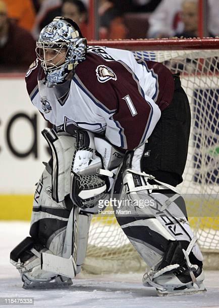 Avalanche goalie David Aebischer plays in net at the Wachovia Center in Philadelphia Pennsylvania on Saturday January 14 2006