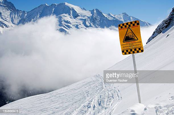 Avalanche warning sign at the St. Gervais-Mont Blanc ski area, Savoyen area, France, Europe