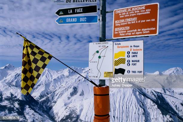 avalanche warning signs in meribel - trois vallees stock pictures, royalty-free photos & images