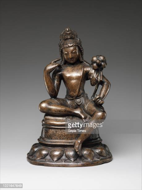 Avalokiteshvara Padmapani, 7th century, Pakistan , Bronze inlaid with silver and copper, H. 8 3/4 in. ; W. 5 3/4 in. ; D. 4 1/8 in. , Metalwork,...