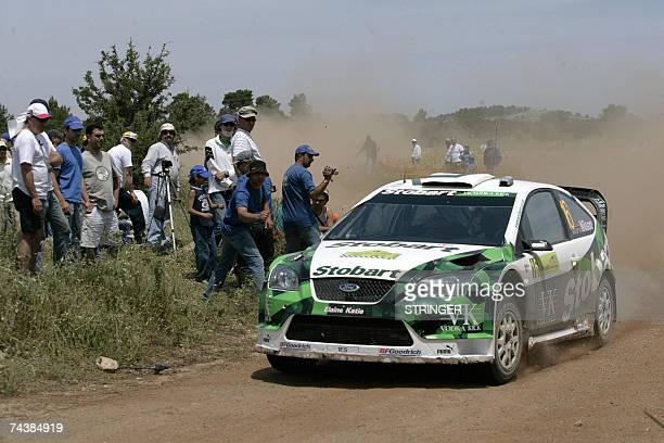 Britain's Matthew Wilson and Michael Orr drive their Ford Focus RS during the Avalona special stage leg 3 of the WRC Acropolis Rally 03 June 2007...