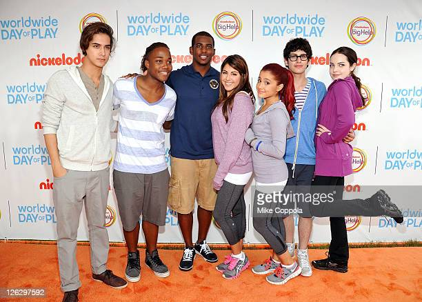 Avan Jogia Leon Thomas III Chris Paul Daniella Monet Ariana Grande Matt Bennett and Elizabeth Gillies celebrate Nickelodeon's largest ever Worldwide...