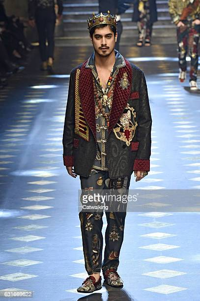 Avan Jogia walks the runway at the Dolce Gabbana Autumn Winter 2017 fashion show during Milan Menswear Fashion Week on January 14 2017 in Milan Italy
