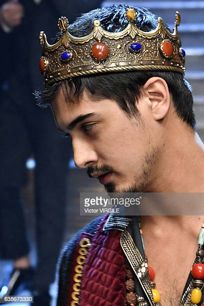 Avan Jogia walks the runway at the Dolce Gabbana show during Milan Men's Fashion Week Fall/Winter 2017/18 on January 14 2017 in Milan Italy