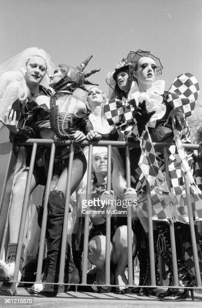 Avant-garde drag theater troupe Black Lips Performance Cult poses for a photo in March 1993 in New York City, New York. Anhoni .