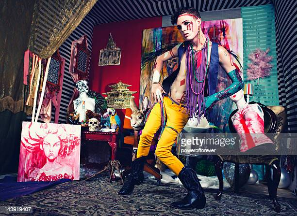 avant-garde glam punk fashion - fashion oddities stock pictures, royalty-free photos & images