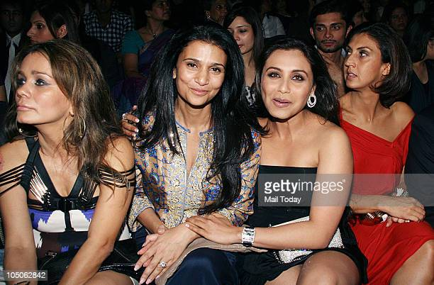 Avanti Birla Rhea Pillai and Rani Mukherjee at Day II of the HDIL Couture fashion week in Mumbai on October 7 2010