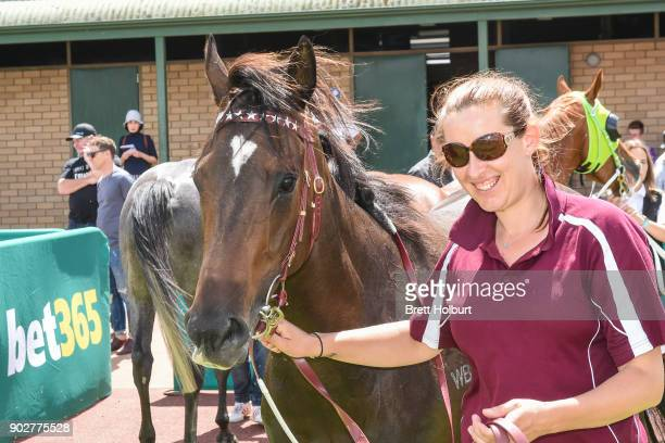 Avanti Rose after winning the Hargreaves Hill Brewery Class 1 Handicap at Yarra Valley Racecourse on January 09 2018 in Yarra Glen Australia