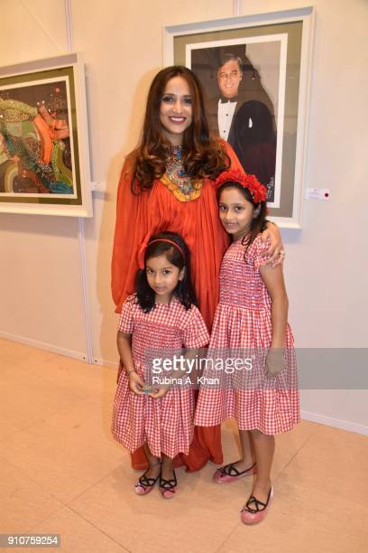 Avantika Raju with her daughters Anusuya and Ahilya at Dilip De's Smartphone School Of Art Exhibit 'Celebration Of The Unexpected' at Jehangir Art...