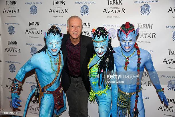 'Avatar' Film Director James Cameron and performers from 'Toruk' pose at the Opening Night for the New York Premeire of Cirque Du Soleil's 'Toruk'...