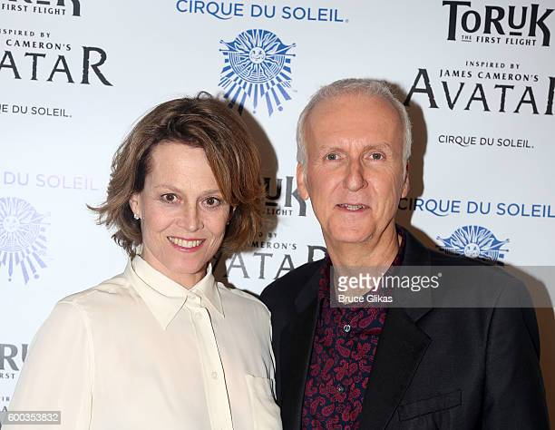'Avatar' Film star Sigourney Weaver and Film Director James Cameron pose at the Opening Night for the New York Premeire of Cirque Du Soleil's 'Toruk'...