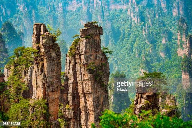 avatar mountain, zhangjiajie national forest park, china - rock formation stock pictures, royalty-free photos & images