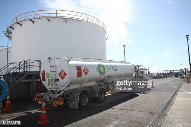 BP avation petrol tanker is pictured alongside fuel supply tanks at Auckland Airport on September 20 2017 in Auckland New Zealand Regular supplies to...