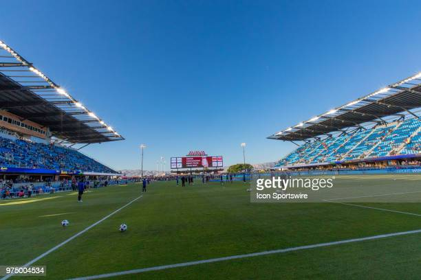 Avaya stadium at dusk before the MLS game between the New England Revolution and the San Jose Earthquakes on June 13 at Avaya Stadium in San Jose CA...