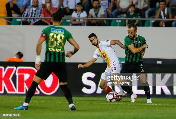 Avdija Vrsajevic of Akhisarspor in action against Emre Akbaba of Galatasaray during Turkish Super Lig soccer match between Akhisarspor and...