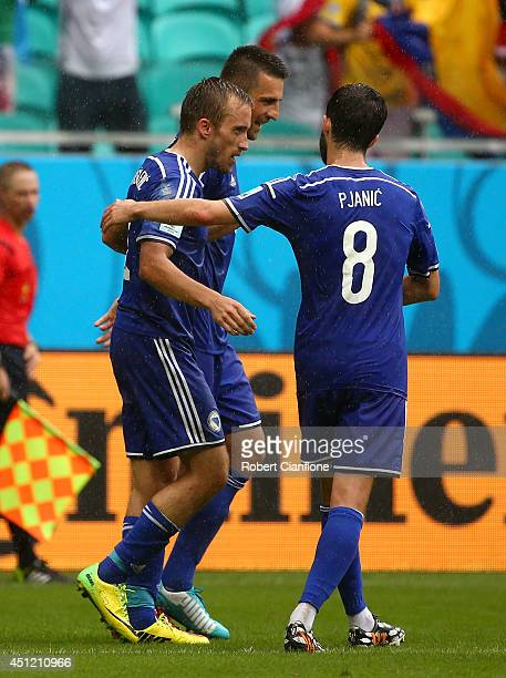 Avdija Vrsajevic of Bosnia and Herzegovina celebrates with his teammates scoring his team's third goal during the 2014 FIFA World Cup Brazil Group F...