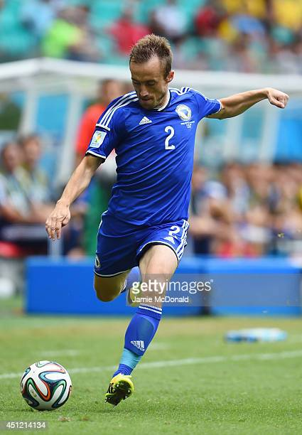 Avdija Vrsajevic of Bosnia and Herzegovina controls the ball during the 2014 FIFA World Cup Brazil Group F match between Bosnia and Herzegovina and...