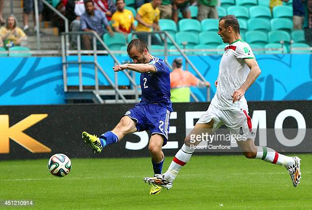 Avdija Vrsajevic of Bosnia and Herzegovina shoots and scores his team's third goal during the 2014 FIFA World Cup Brazil Group F match between Bosnia...