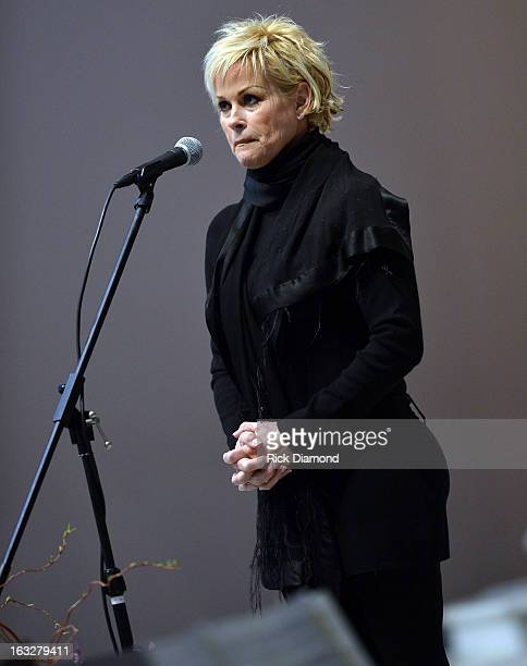 Ave Maria performed by Lorrie Morgan during the memorial service for Mindy McCready at Cathedral of the Incarnation on March 6 2013 in Nashville...