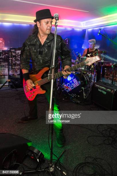 Ave Tsarion and Jim Reilly of XSLF perform at Bar 44 on September 2, 2017 in Perth, Scotland.