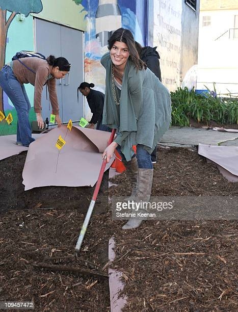 Aveeno Brand Ambassador Summer Rayne Oakes attends the AVEENO garden beautification event at Franklin Elementary on February 26, 2011 in Santa...