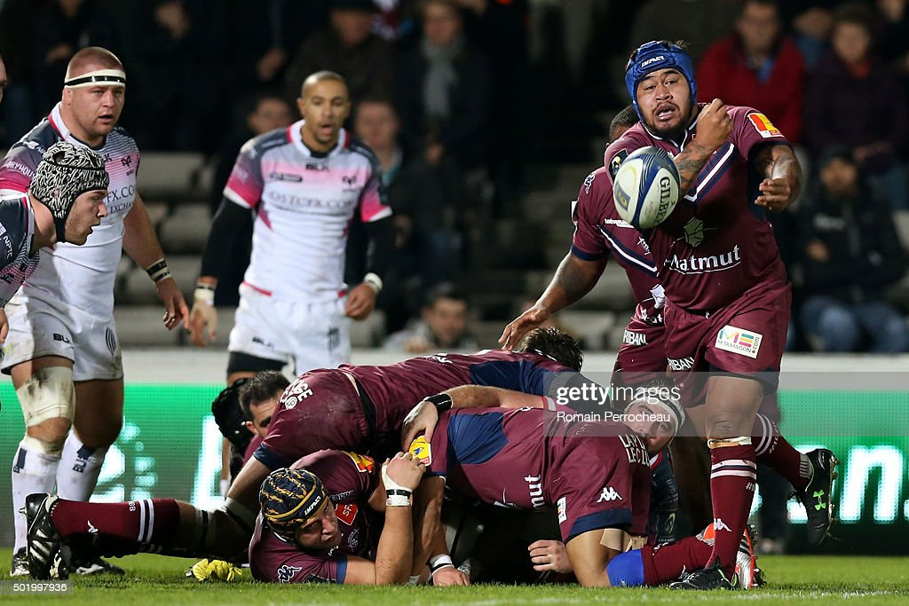Avei Ole for Union Bordeaux Begles in action during the European Rugby Champions Cup match between Union Bordeaux Begles and Ospreys at Stade Chaban-Delmas on December 19, 2015 in Bordeaux, France. (Photo by Romain Perrocheau/Getty I