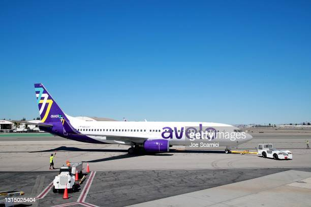 Avelo Airlines takes off with first flight between Burbank and Santa Rosa at Hollywood Burbank Airport on April 28, 2021 in Burbank, California.